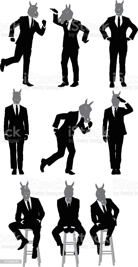 Businessman with horse's head royalty-free stock vector art