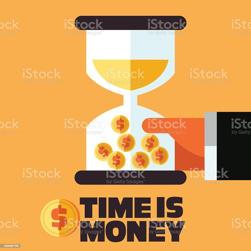 Businessman with hourglass in hand. Time is money concept vector art illustration