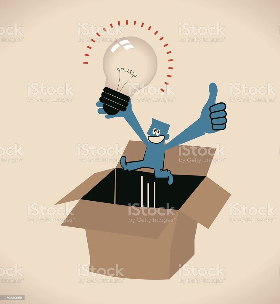 Businessman with idea bulb jumping out of a carton box vector art illustration