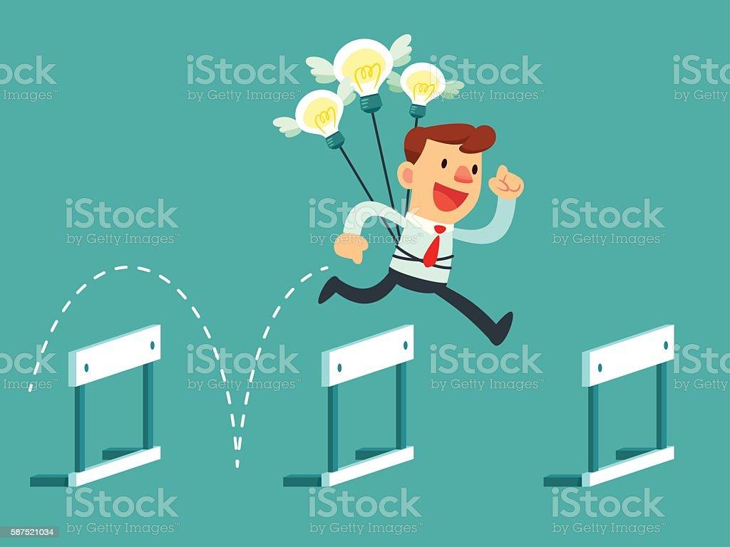 businessman with idea bulbs jump over hurdles vector art illustration