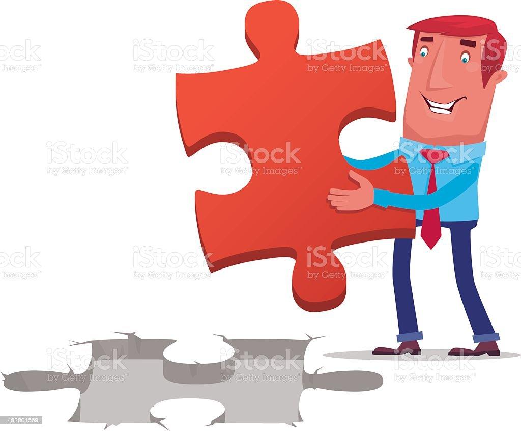 businessman with jigsaw royalty-free stock vector art