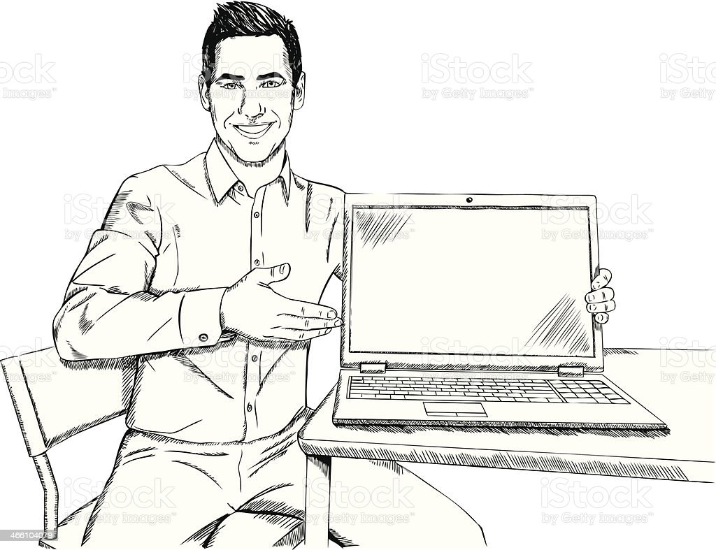 businessman with laptop doodle royalty-free stock vector art