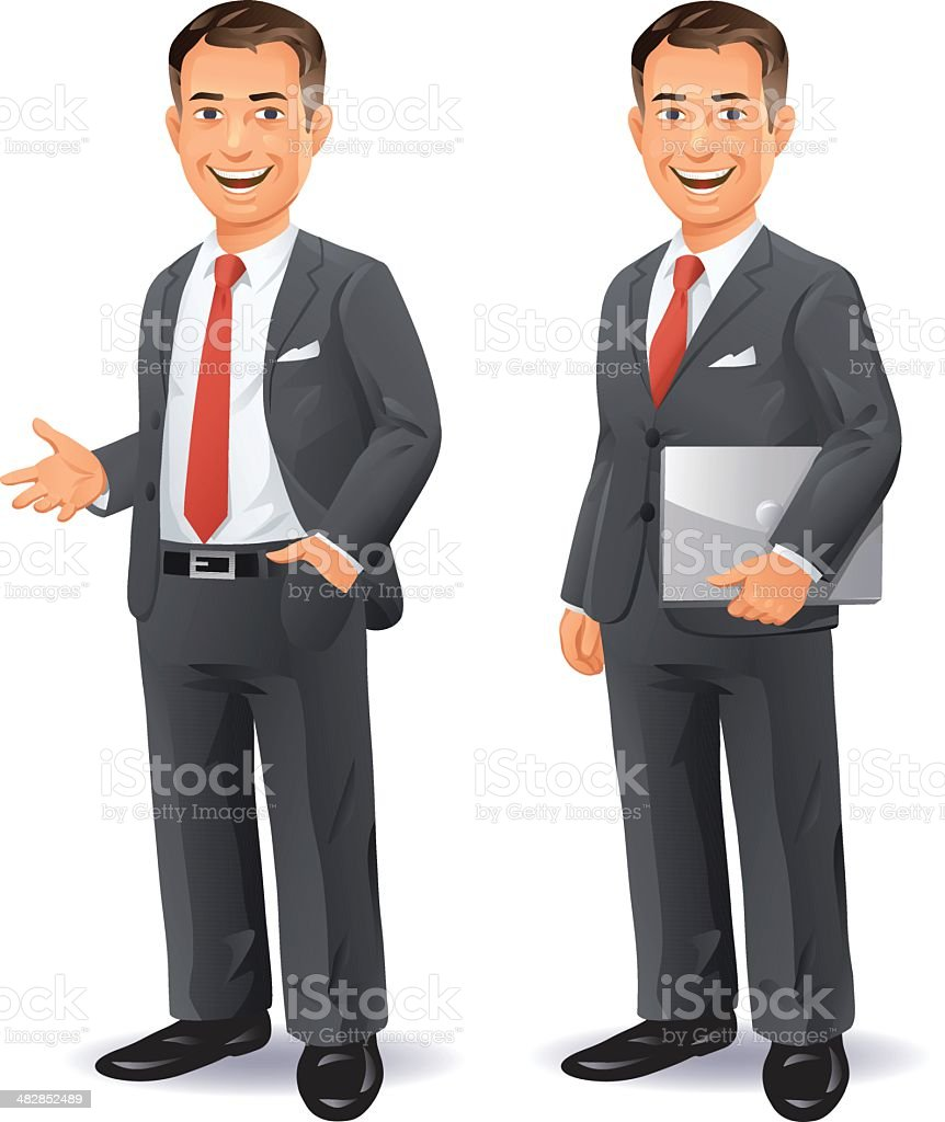 Businessman With Laptop vector art illustration
