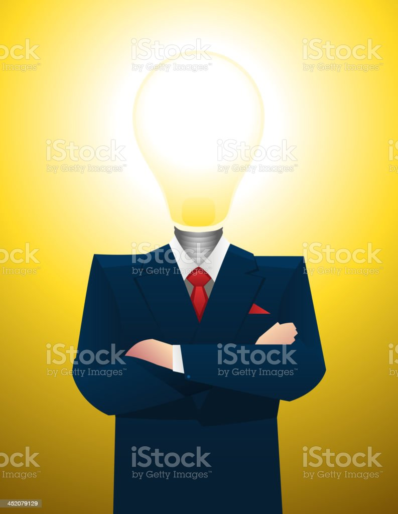 Businessman with lightbulb inspiration great idea royalty-free stock vector art