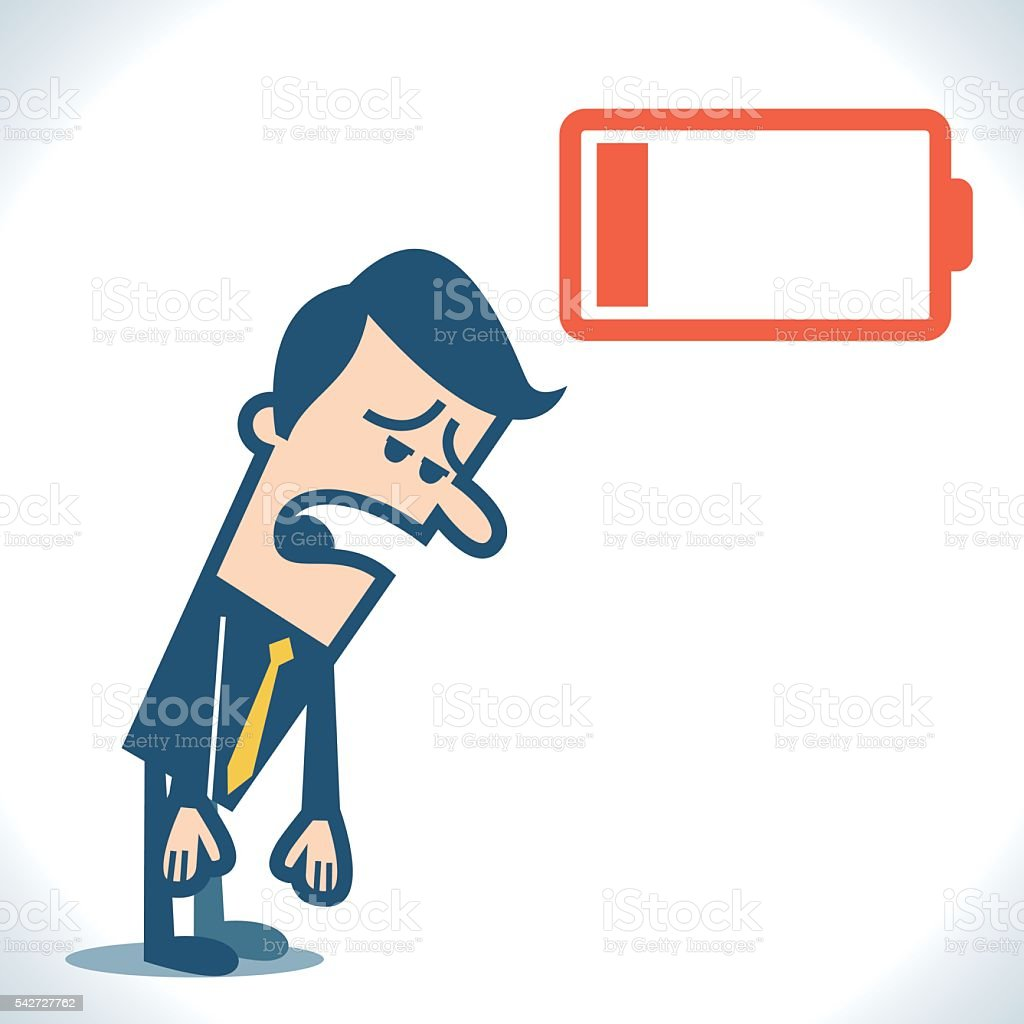 Businessman with low battery vector art illustration