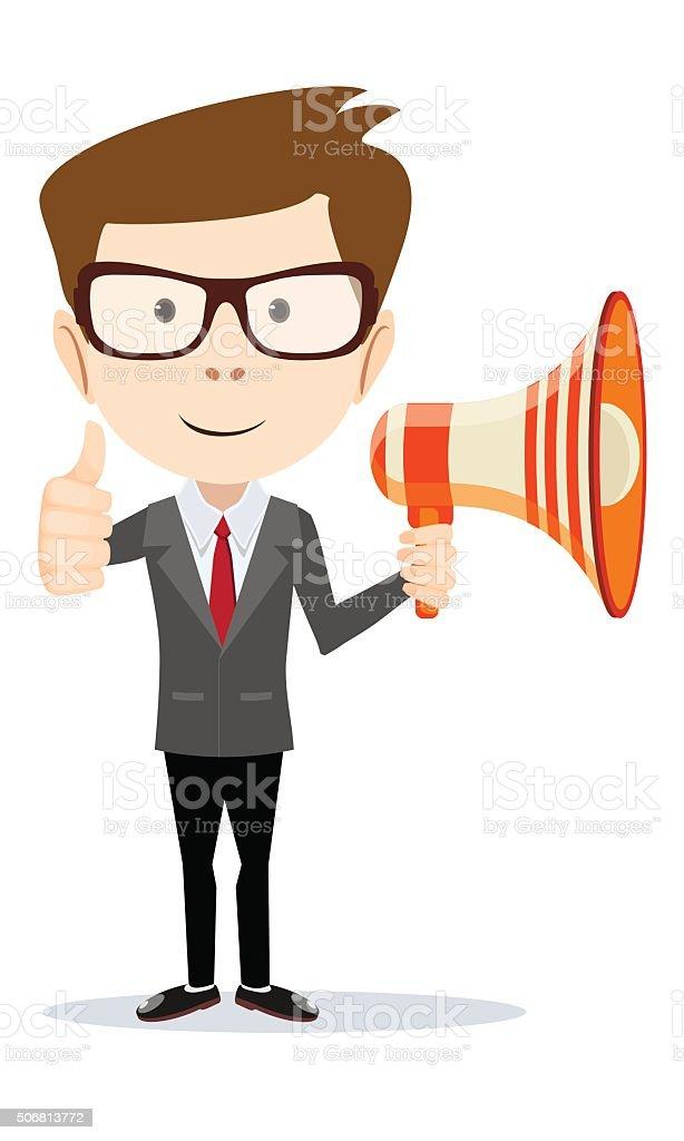 Businessman with Megaphone. vector art illustration