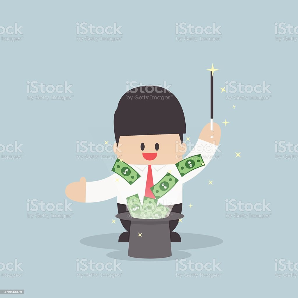 Businessman with money flying from magic hat vector art illustration