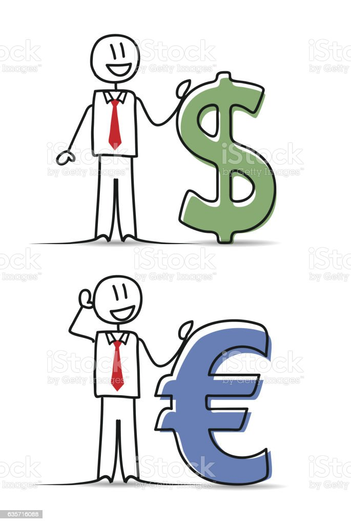 Businessman with money signs vector art illustration