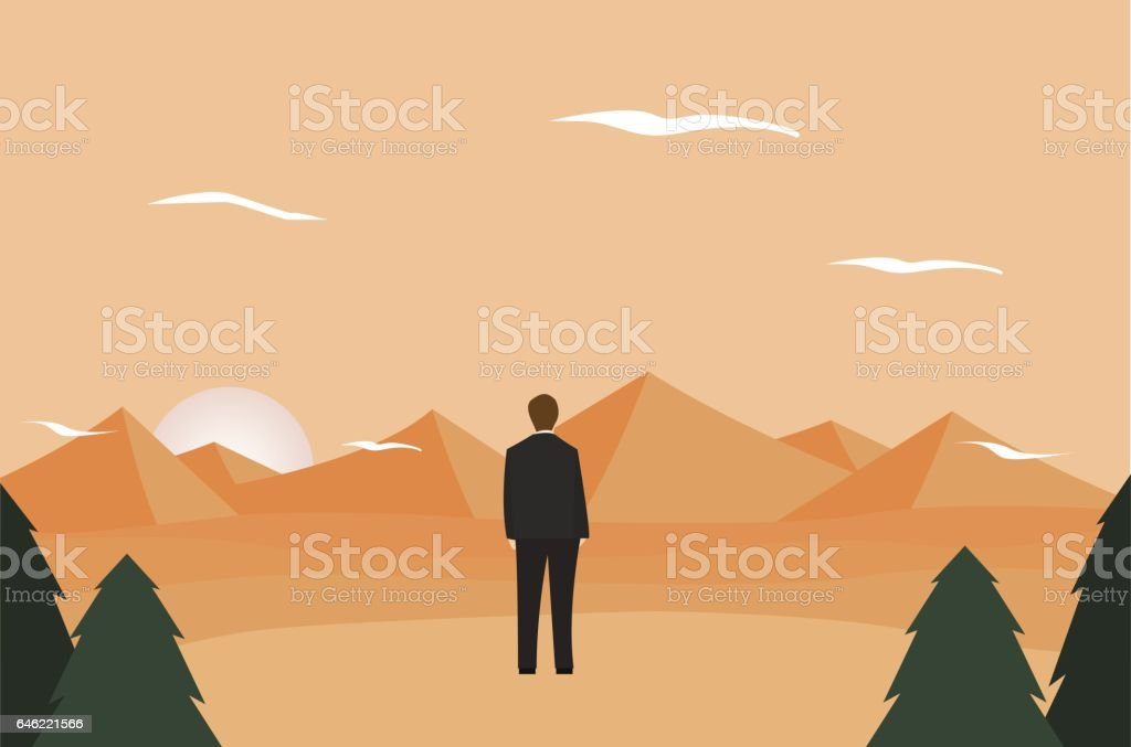 Businessman with mountain landscape vector art illustration