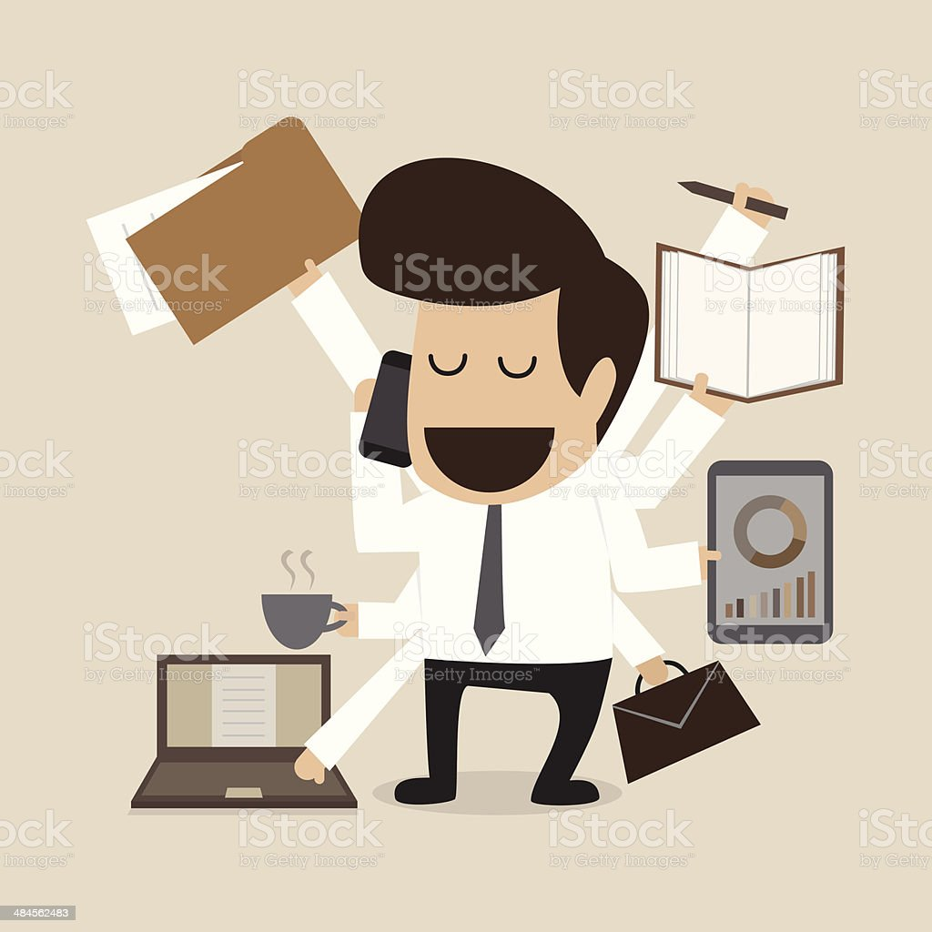 Businessman with multi tasking and skills vector art illustration