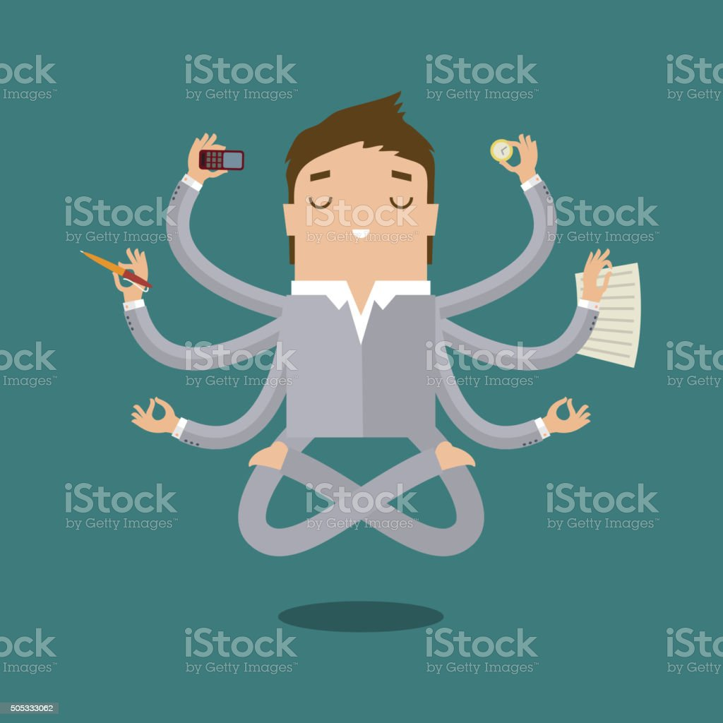 Businessman with multitasking vector art illustration