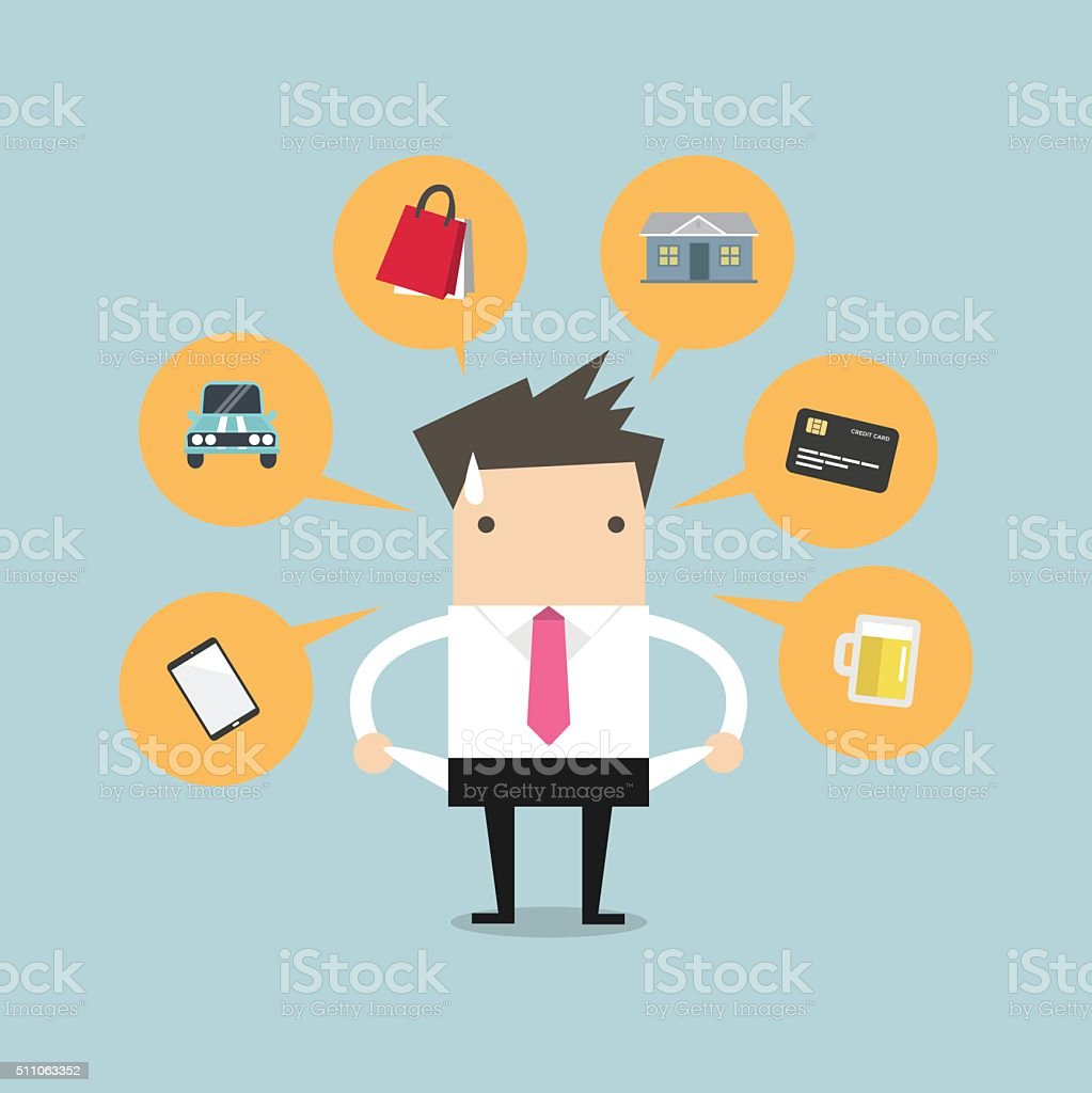 Businessman with no money for spending vector art illustration