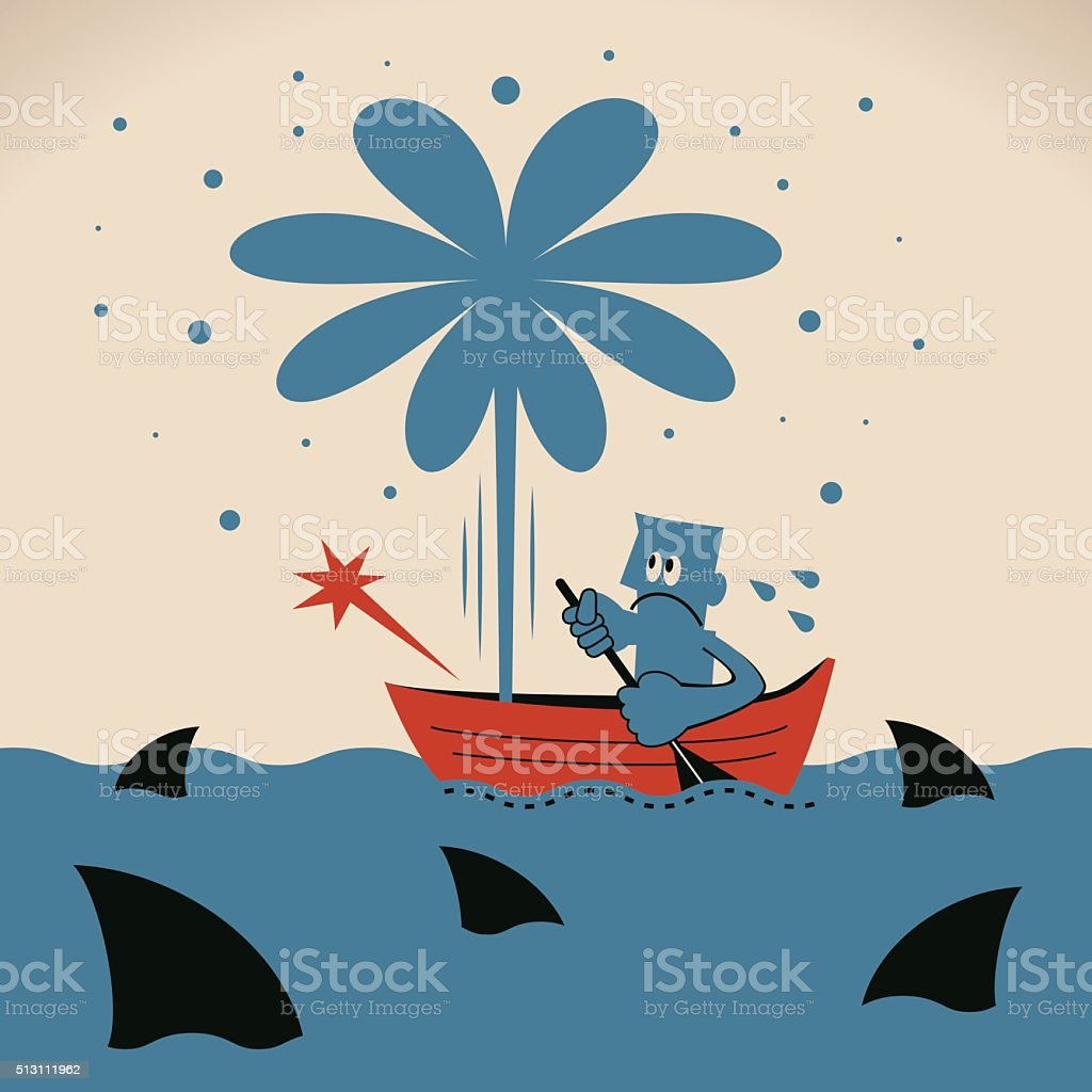 Businessman with oar on leaking boat, surrounded by shark vector art illustration