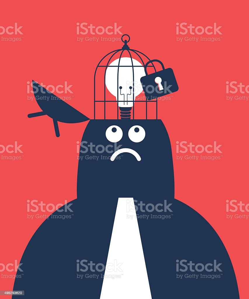 Businessman with opened head and idea light bulb in birdcage vector art illustration