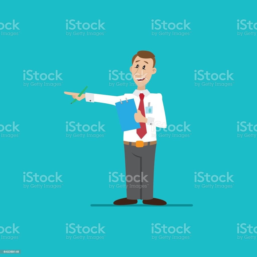 Businessman with pen and pocketbook vector art illustration