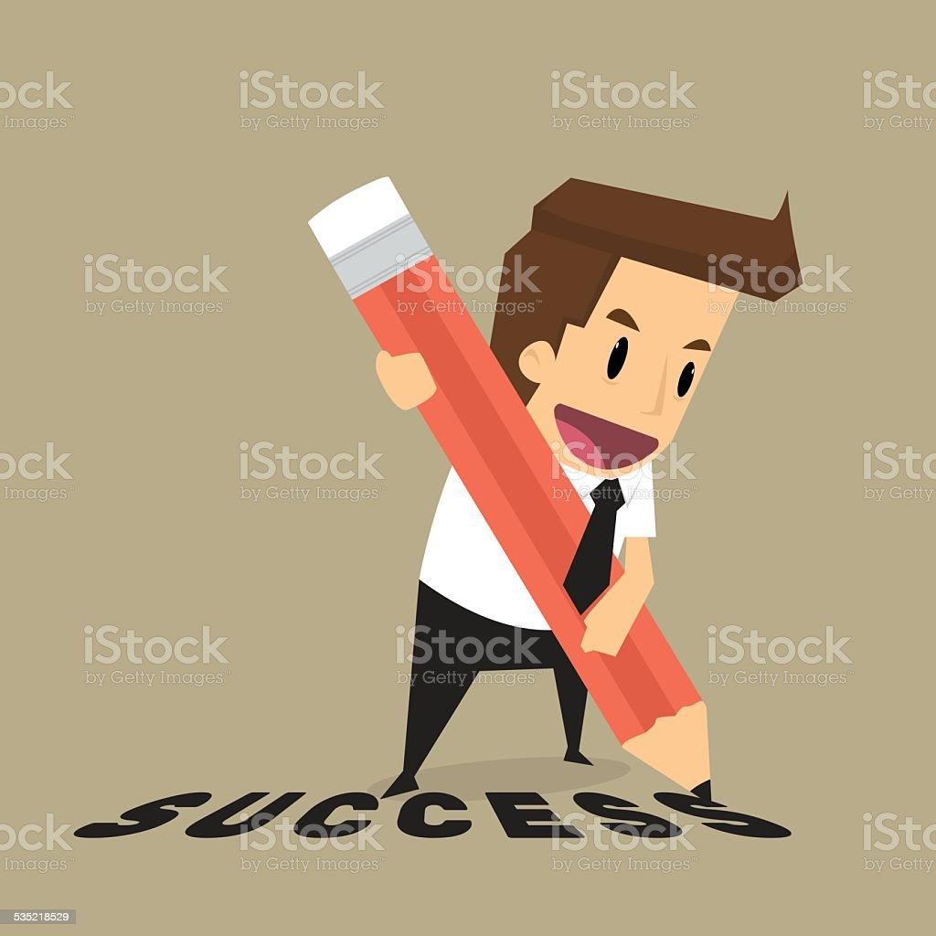 Businessman with pencil writing success vector art illustration