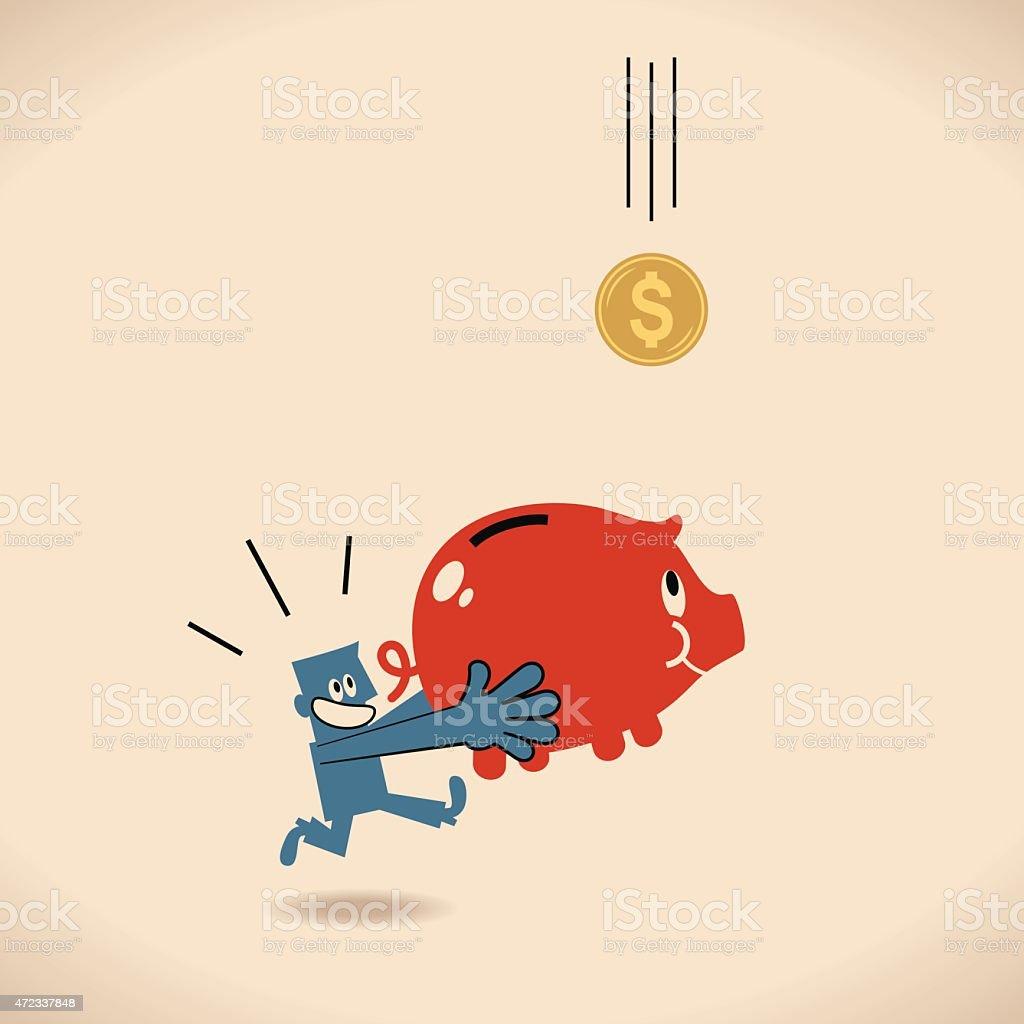 Businessman with piggy bank running to catch falling dollar (money) vector art illustration