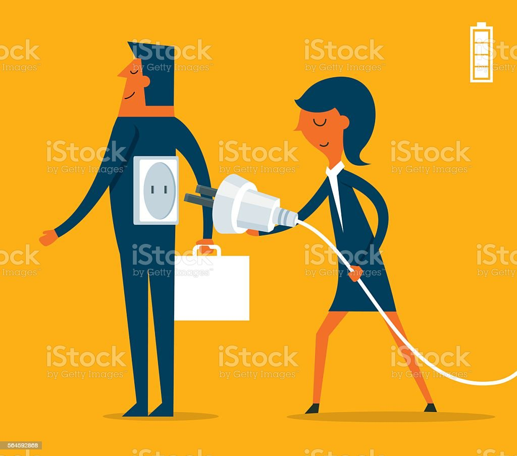 Businessman with plug in charge vector art illustration