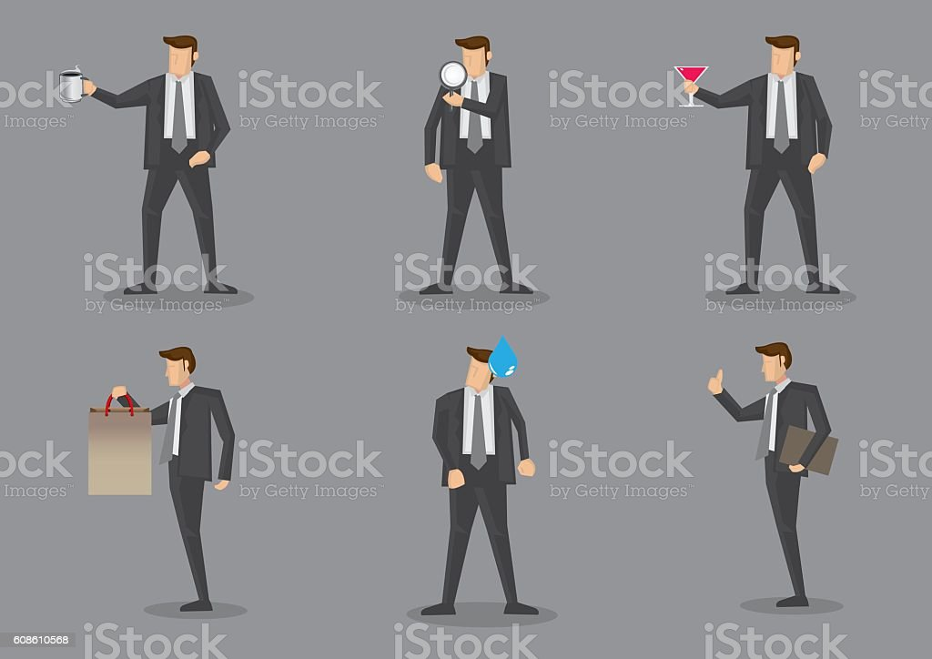 Businessman with Props Vector Characters vector art illustration