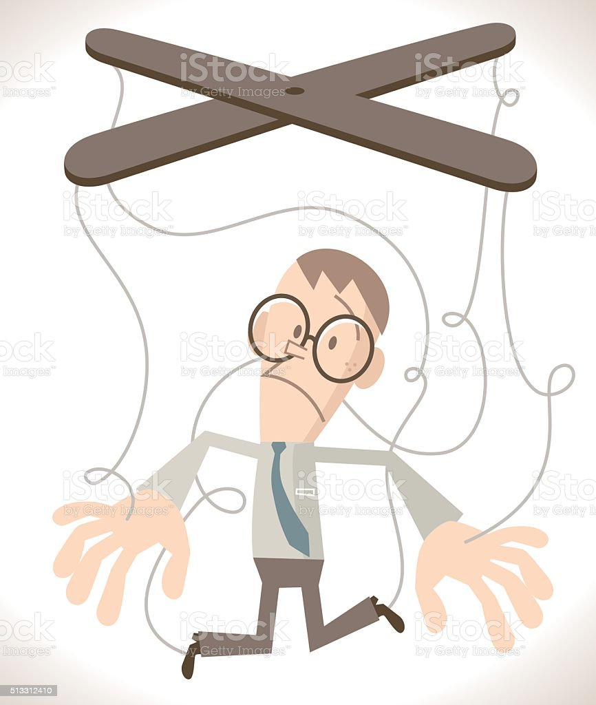 Businessman with puppet strings attached to his hands and feet vector art illustration
