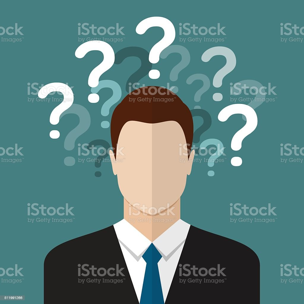 Businessman with question marks vector art illustration