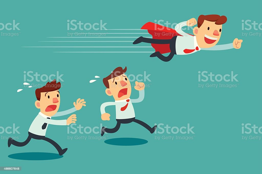 businessman with red cape fly pass his competitor vector art illustration
