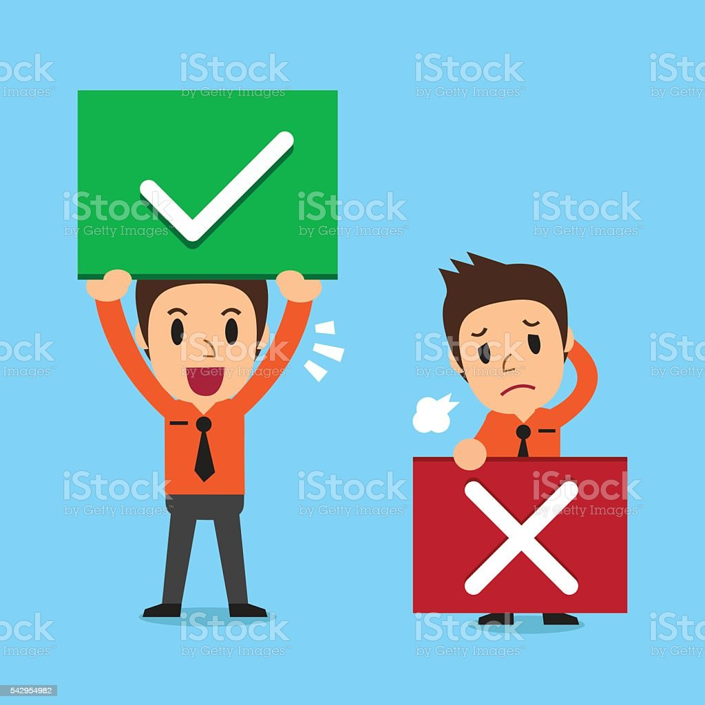 Businessman with right and wrong signs vector art illustration