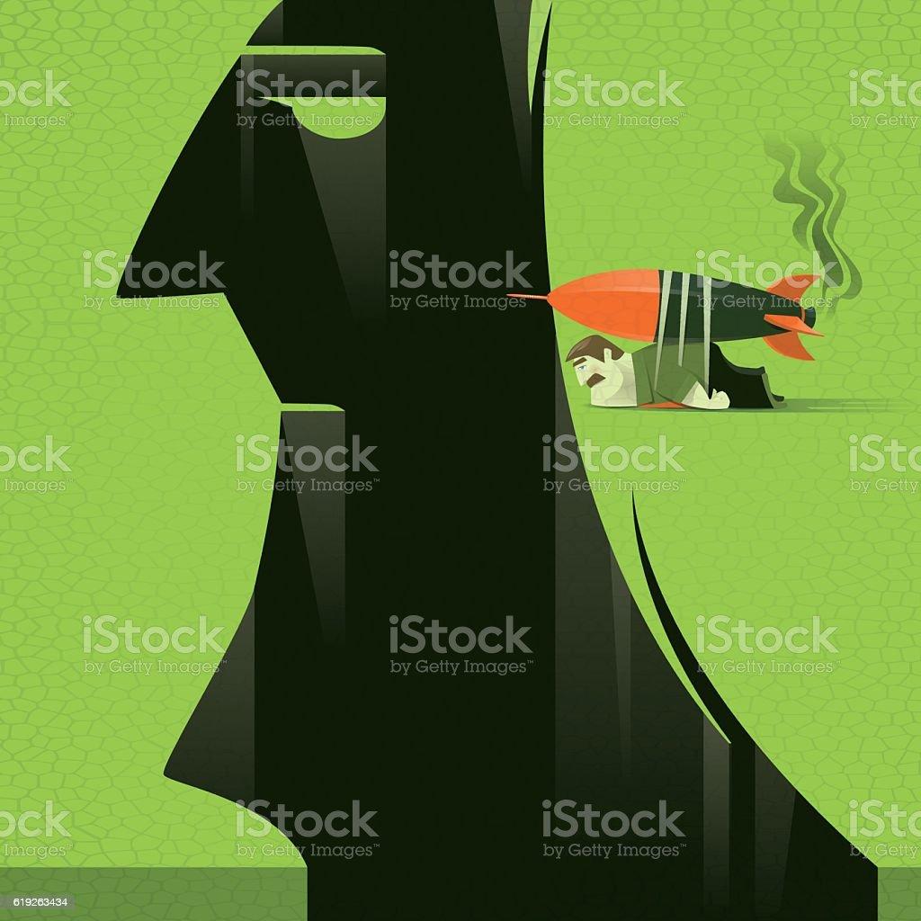 businessman with rocket vector art illustration