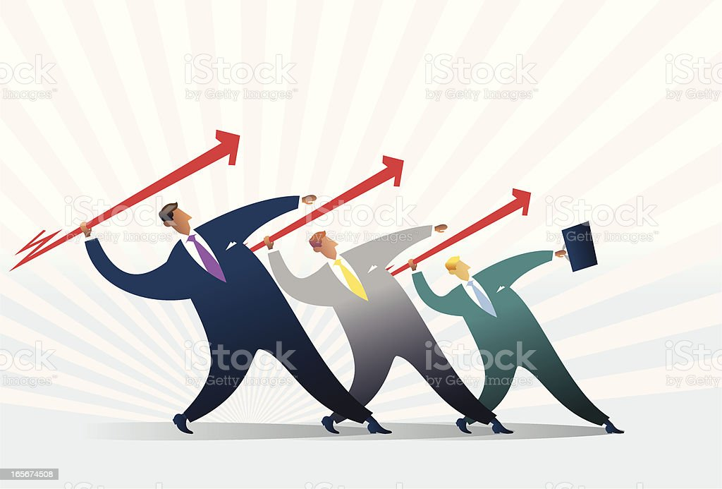 Businessman with same goal - teamwork royalty-free stock vector art