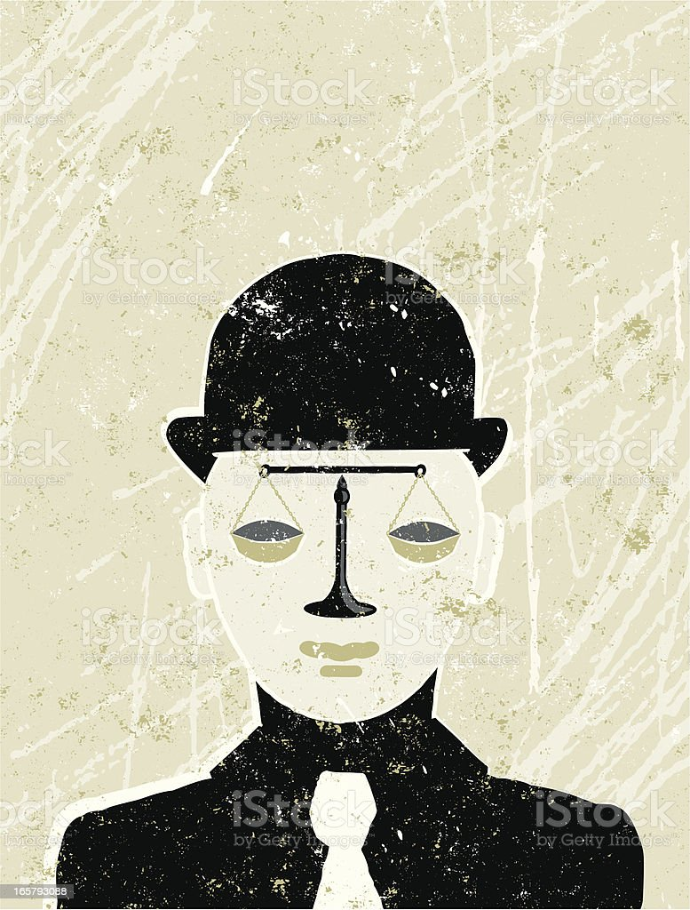 Businessman with Scales of Justice for a Face royalty-free stock vector art
