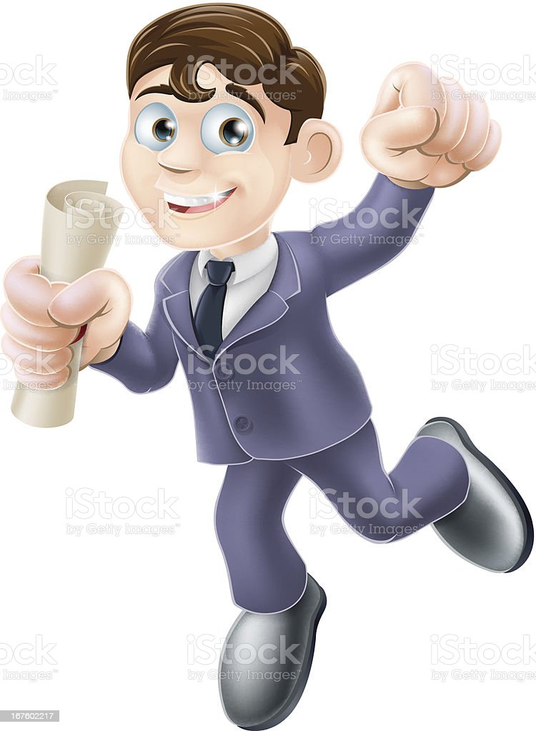 Businessman with scroll royalty-free stock vector art