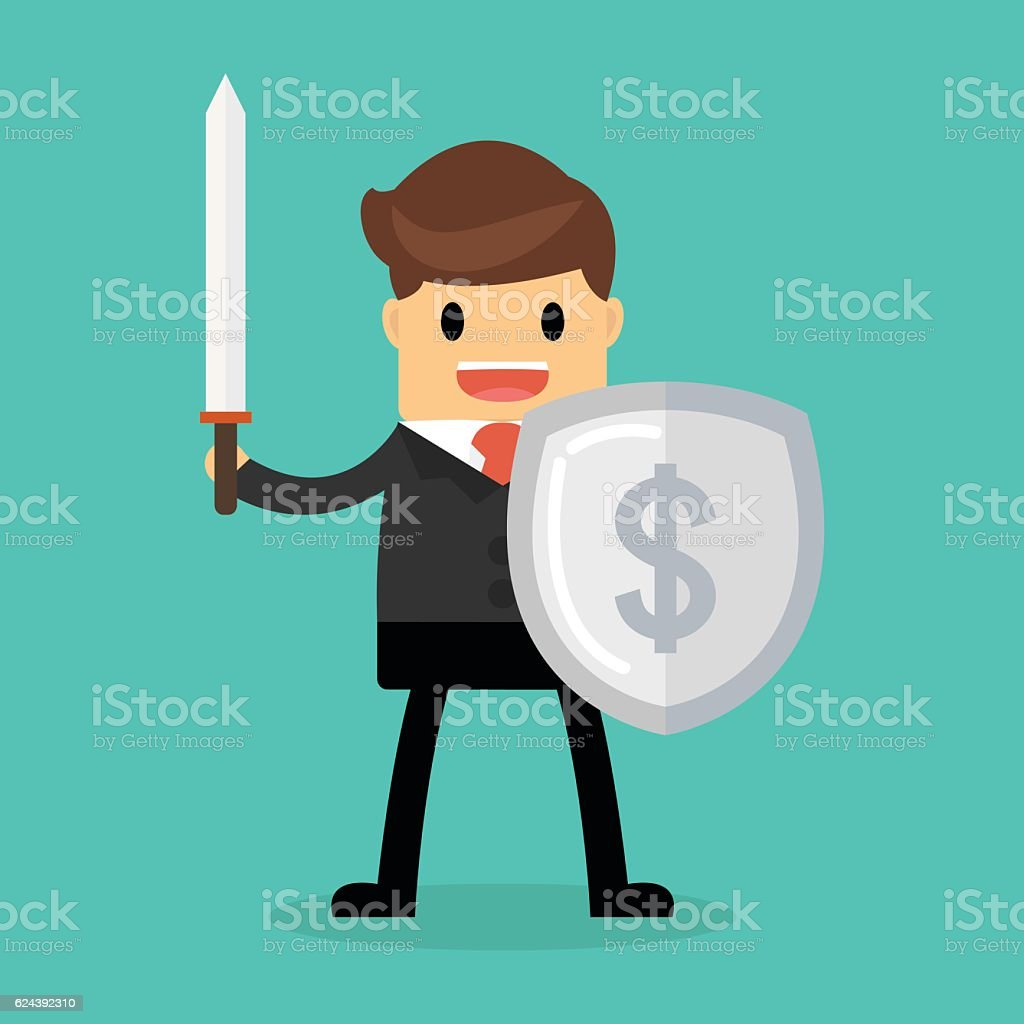 Businessman with shield and sword, Business concept. vector art illustration