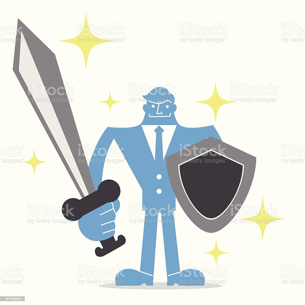 Businessman with shield and sword vector art illustration