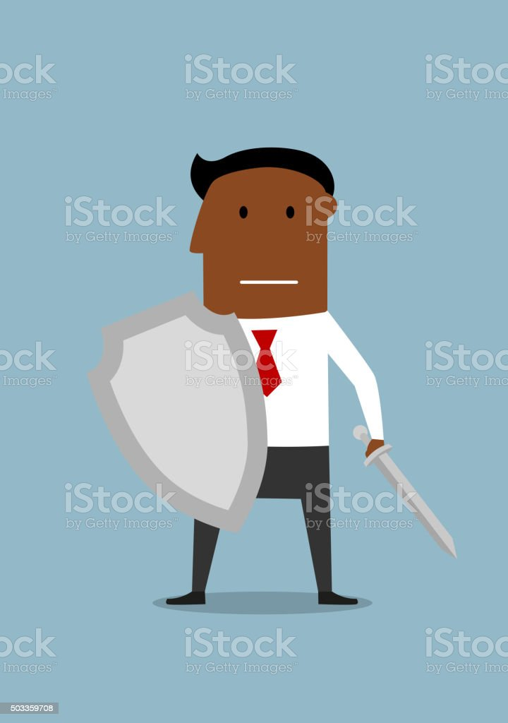 Businessman with shield protecting a business vector art illustration
