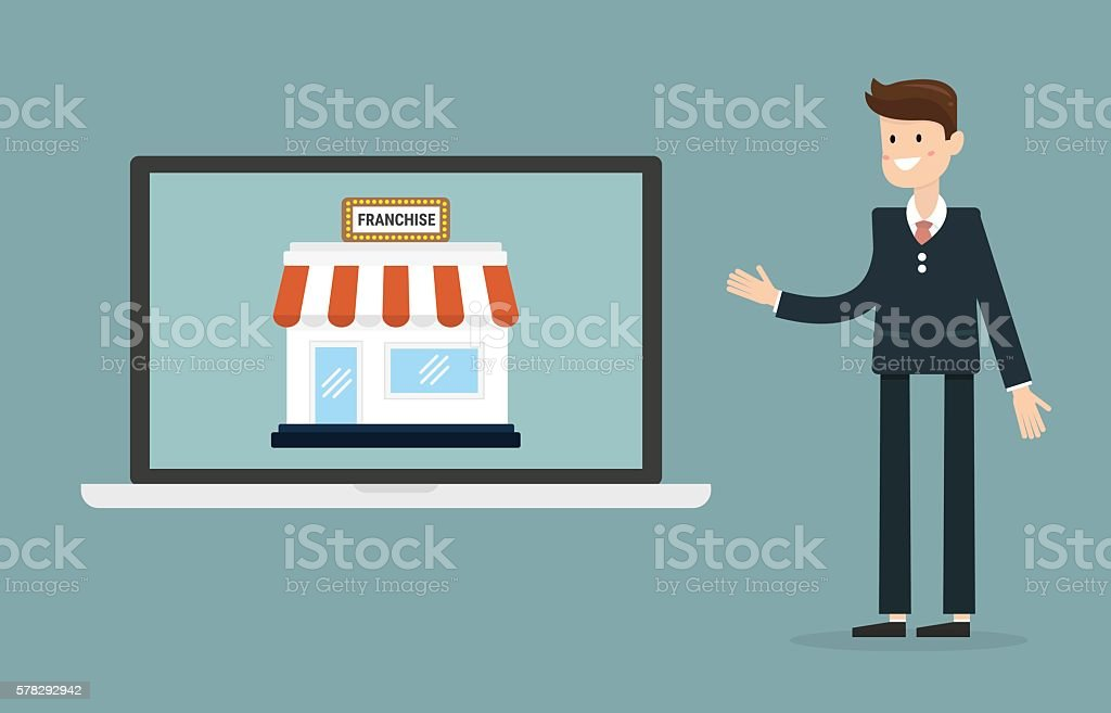 Businessman with shop franchise concept. business concept. vector art illustration