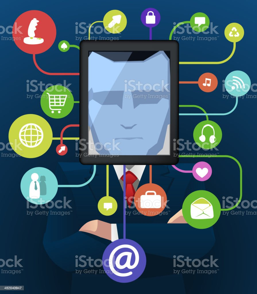 Businessman with social icon apps vector art illustration