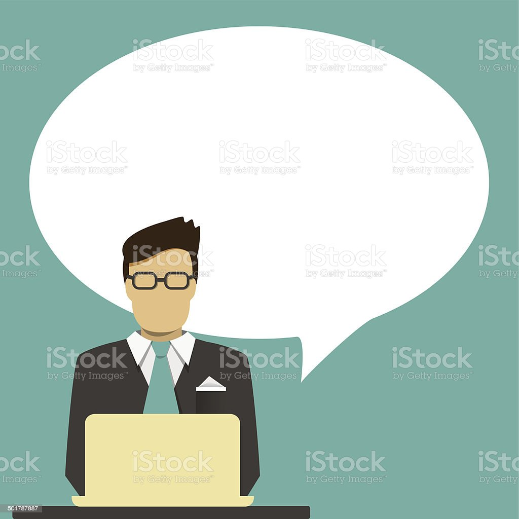 Businessman with speech bubble for text. vector art illustration