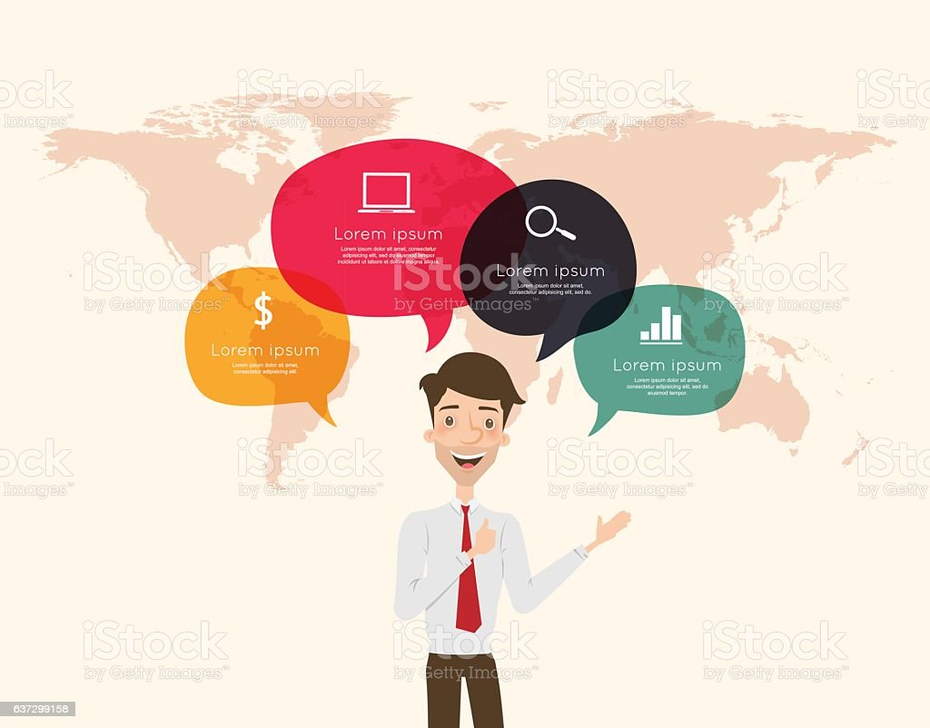 Businessman with speech bubble infographic vector art illustration