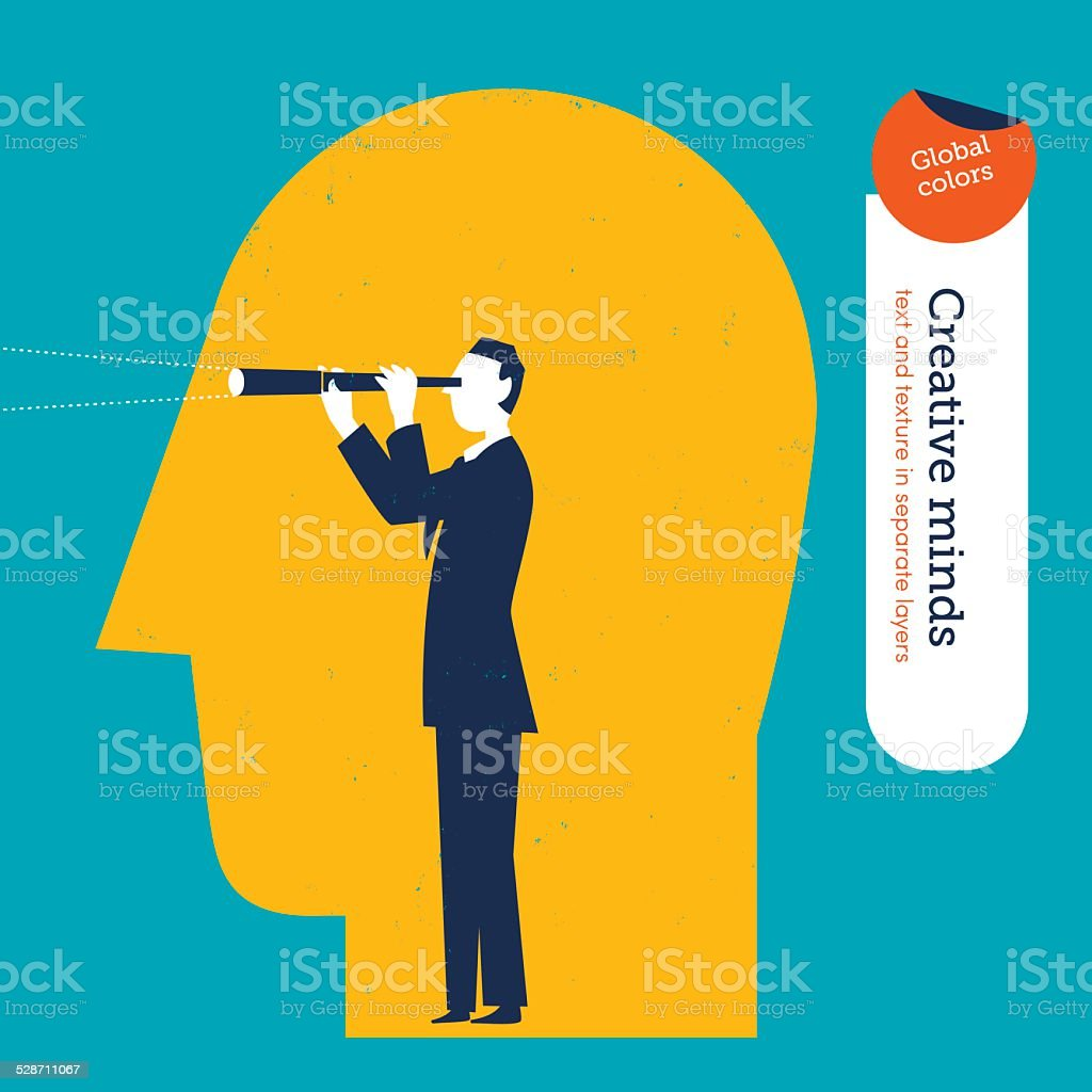 Businessman with spyglass and head vector art illustration