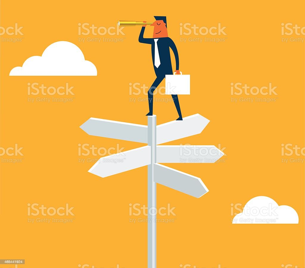 Businessman with spyglass on a crossroad sign vector art illustration