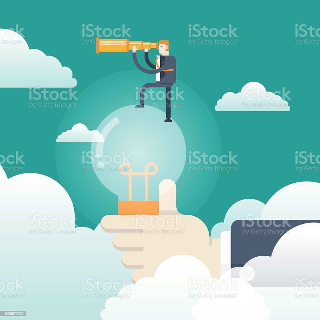 Businessman with spyglass on a light bulb vector art illustration