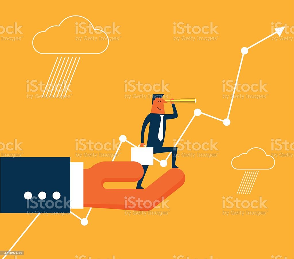 Businessman with spyglass on the hand vector art illustration