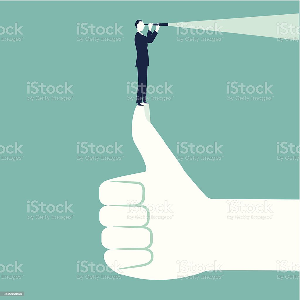 Businessman with spyglass on top of hand vector art illustration