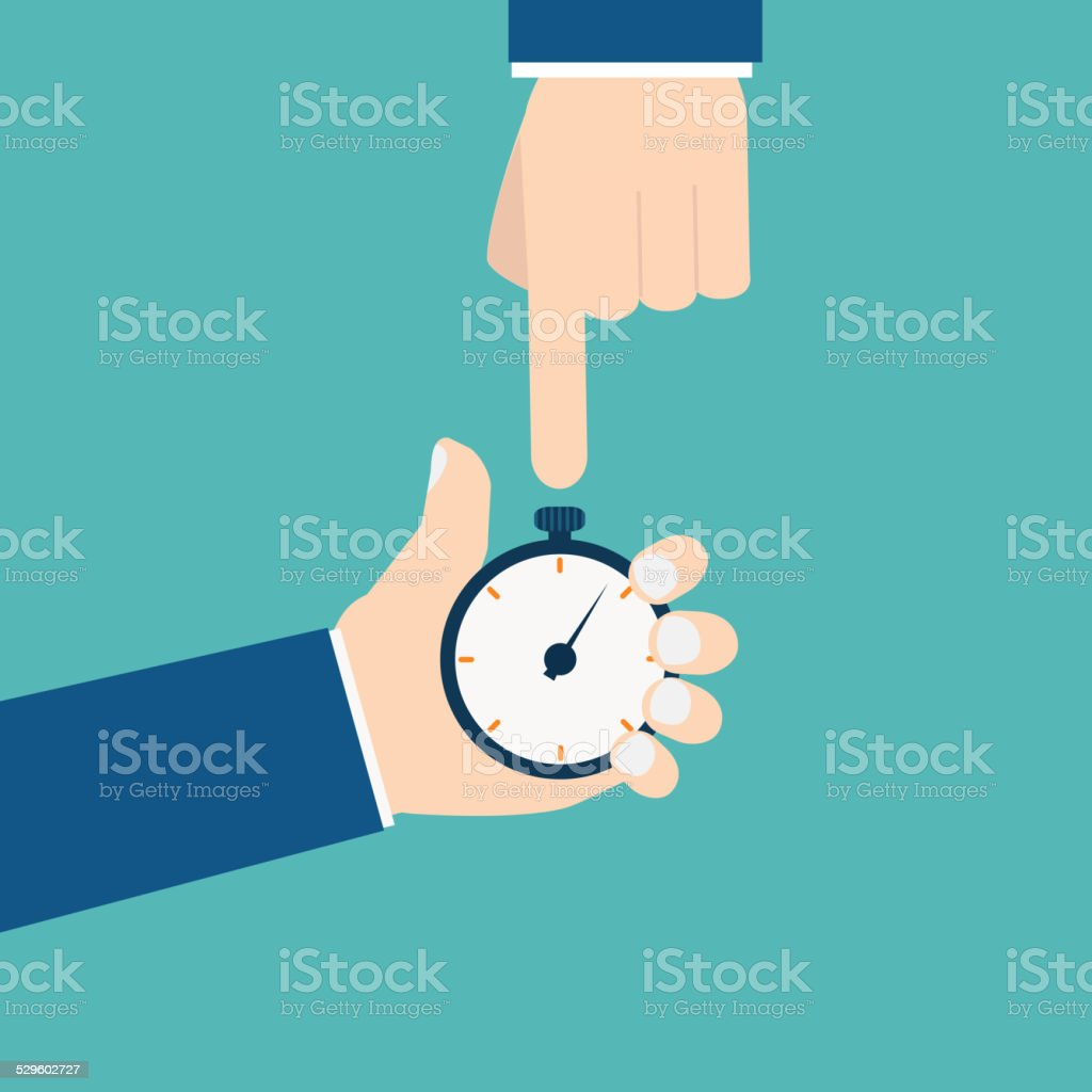 Businessman with stop watch vector art illustration