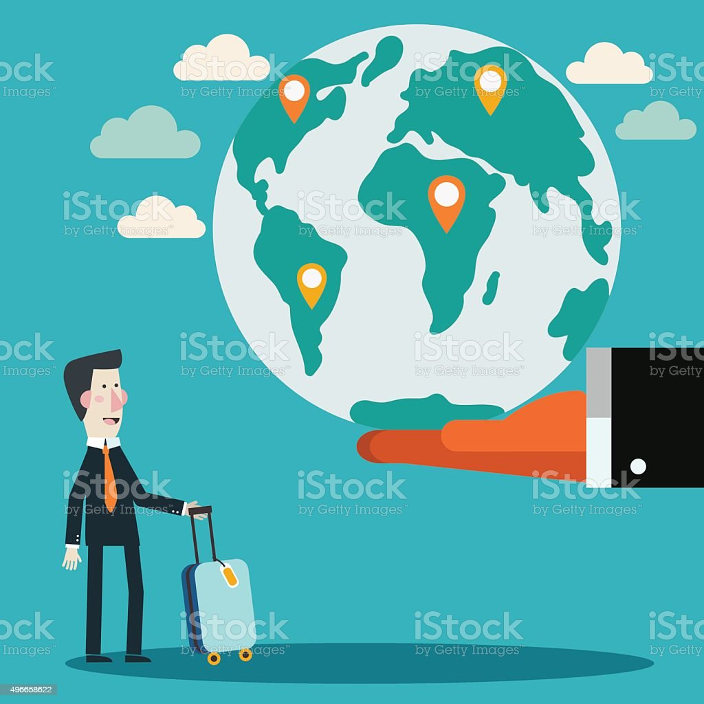 Businessman with suitcase and world map. International business travel concept vector art illustration