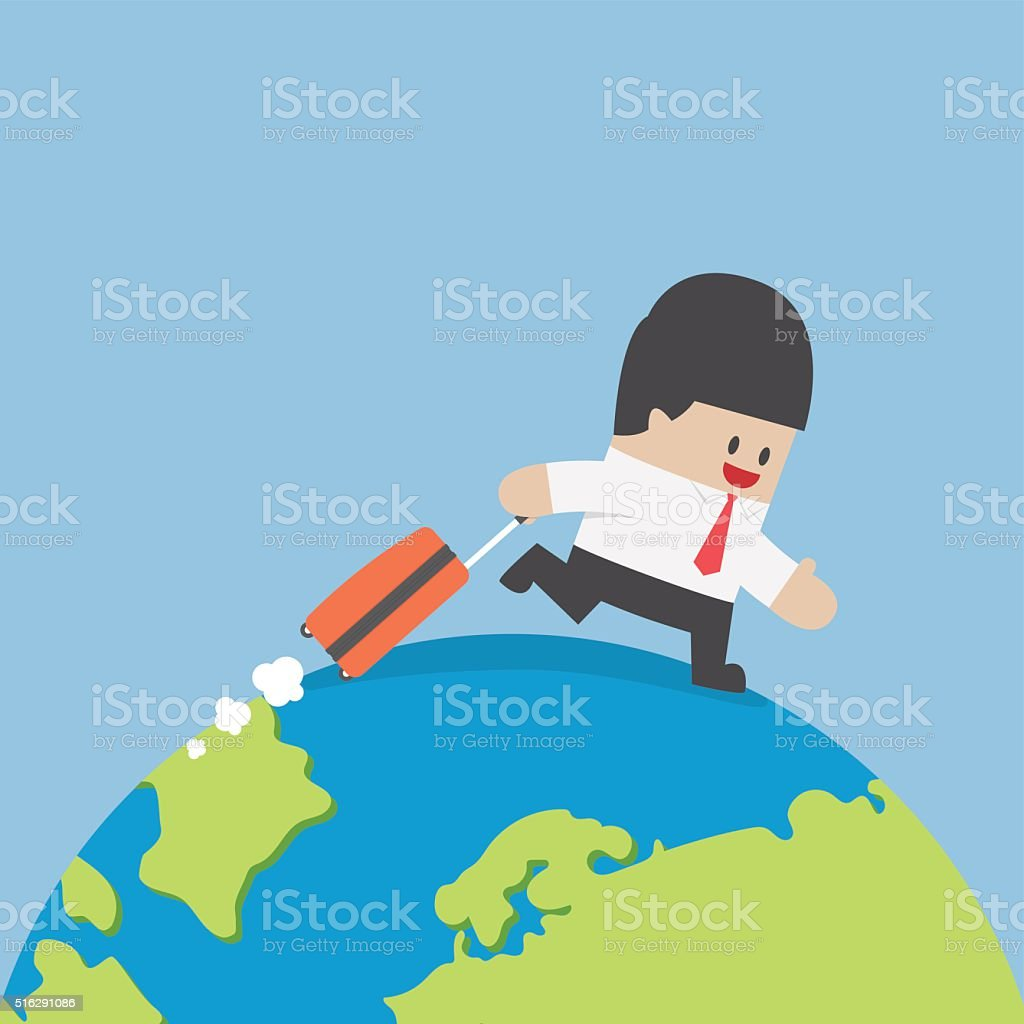 Businessman with suitcase walking around the world vector art illustration