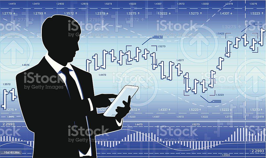 Businessman with tablet computer royalty-free stock vector art