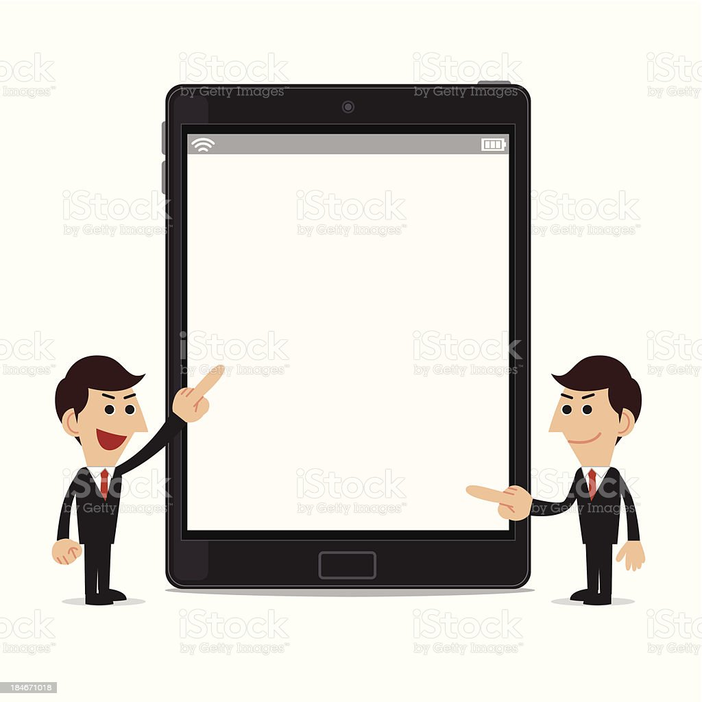 Businessman with tablet pc royalty-free stock vector art