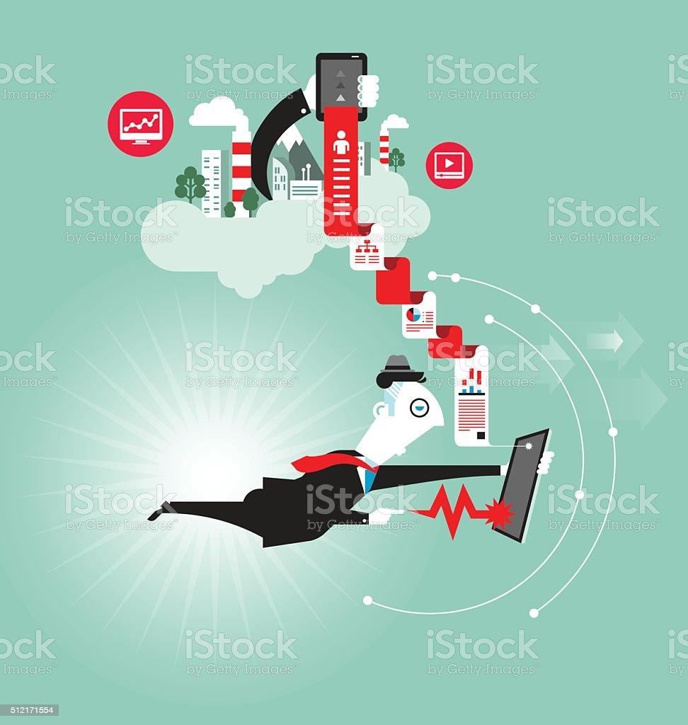 Businessman with tablet vector vector art illustration