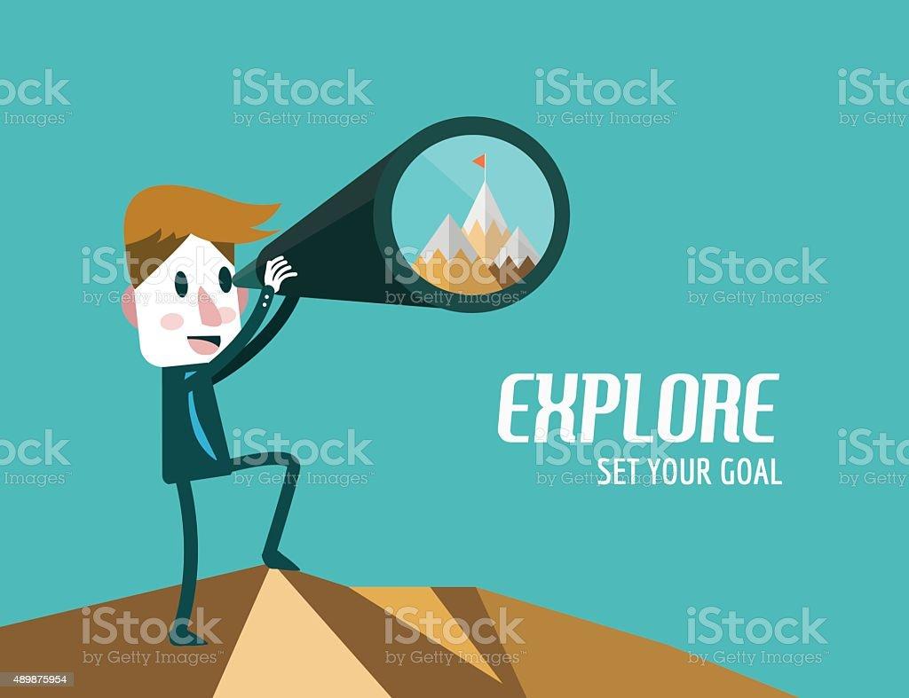 Businessman with telescope finding Goal. vector art illustration